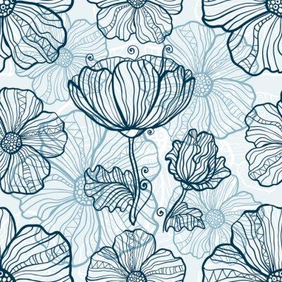 Nálepka Monochromatické máku květiny bezešvé vzor