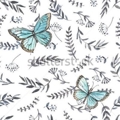 Nálepka Monochromatický akvarel květinové bezešvé s motýly. Ruční malba. Vodové barvy. Bezešvé vzor pro tkaniny, papíru a další tisk a webové projekty.