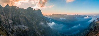 Nálepka Morskie Oko - západ slunce, pohled z Rysy