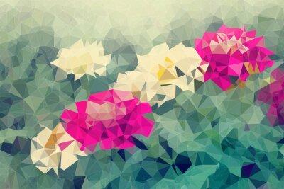 Nálepka Mosaic a nízký polygon pozadí na květiny pozadí, ilustrace