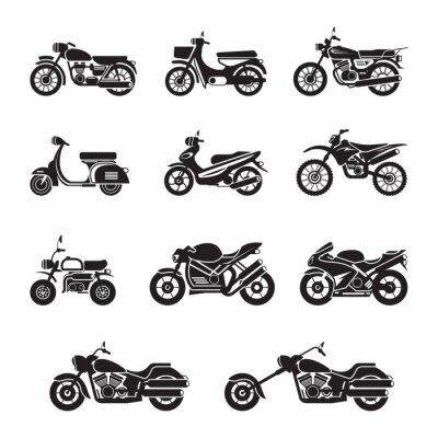 Nálepka Motocykl Jezdci, Bikers, černá a bílá, silueta