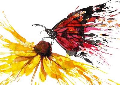 Nálepka Motýl na květu