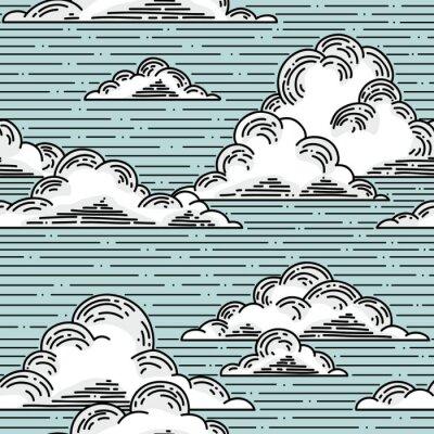 Nálepka Mraky bezešvé vzor ručně kreslený obrázek. vektor pozadí