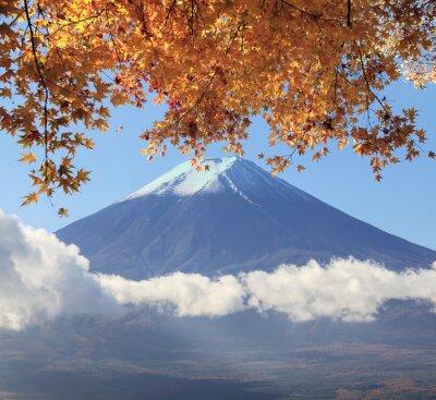 Nálepka Mt. Fuji s podzimních barvách v Japonsku