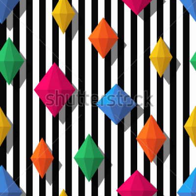 Nálepka Multicolor diamonds, gems on black white stripes, seamless pattern. 3d vector shapes. Abstract universal background. Design for fashion textile print, wrapping paper, web background, package.