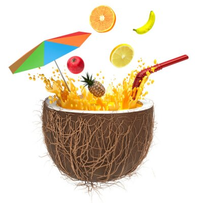 Nálepka multifruit juice in the coconut with a straw and spray