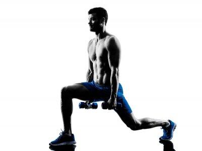 Nálepka muž cvičení fitness výpady závaží cvičení siluetu