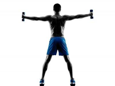 Nálepka muž cvičení fitness závaží silueta
