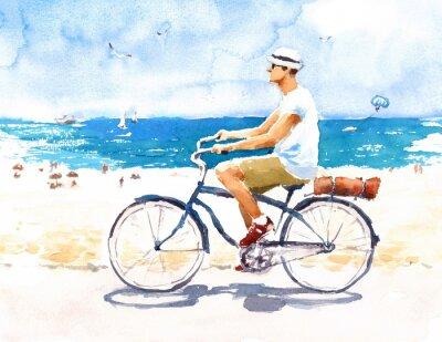 Nálepka Muž na kole Letní pláž Scene Akvarel Ilustrace Hand painted