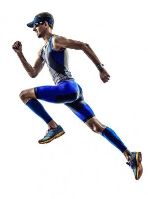 Nálepka muž triatlon Ironman sportovec běžci běží