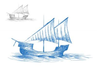 Nálepka Náčrt starého středověkého plachetnice