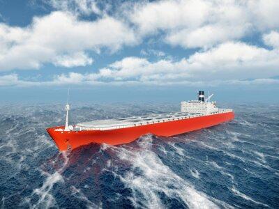 Nálepka Nákladní loď v rozbouřeném oceánu