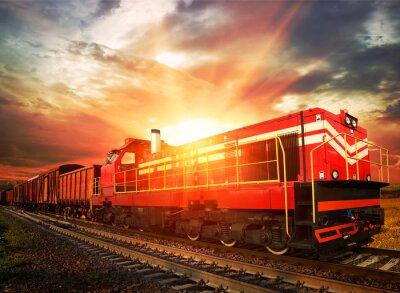 Nálepka nákladní vlak v ranním slunci