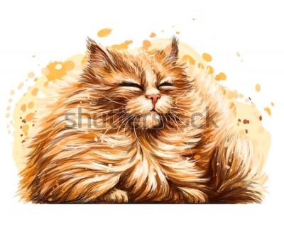 Nálepka Nálepka na zeď. Barevná, grafická, umělecká kresba roztomilé chlupaté kočky je pěkně šilhající na slunci na bílém pozadí se stříkajícím akvarelem.