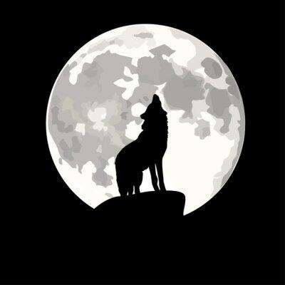 Nálepka Náměstí ilustrace vlk vyjící na měsíc.