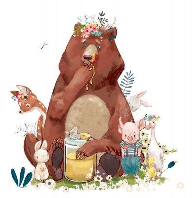 Nálepka narozeninová roztomilá zvířata - medvěd a další