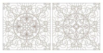 Nálepka Nastavte konturové ilustrace vitráže s abstraktními víry a květy, čtvercový obraz