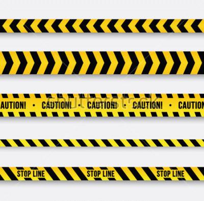 Nálepka Nebezpečí policejní linka. Žlutá varovná páska. Vektorové ilustrace.