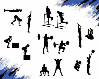 Nálepka Několik mužské siluety dělat různé crossfit cvičení a cvičit izolovaných na bílém pozadí. Vektorové ilustrace pro web a tisk.