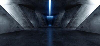 Nálepka Neon Laser Blue Sci Fi Modern Concrete Cement Dark Empty Asphalt Reflective Grunge Hall Room Corridor Tunnel Spaceship Glowing White Cinematic Daylight Rays Glow 3d Rendering