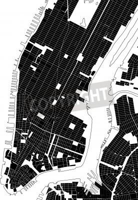 Nálepka New York černá bílá plán města - ulice textura