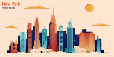 Nálepka New York city colorful paper cut style, vector stock illustration. Cityscape with all famous buildings. Skyline New York city composition for design.