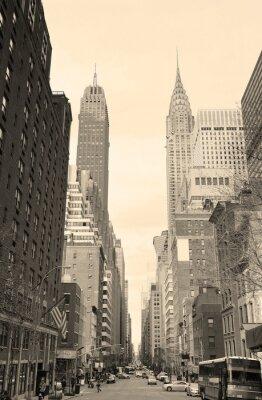 Nálepka New York City Manhattan výhled na ulici černá a bílá