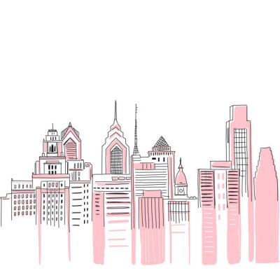 Nálepka New York city scape background. Hand drawn vector doodle graphics. Pink and black colours. Perfect for girlish design.