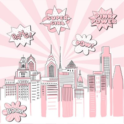 Nálepka New York city scape on Retro sun ray background with pop art comic fight supergirl power text bubbles . Hand drawn vector doodle graphics. Pink and black colours. Perfect for girlish design.