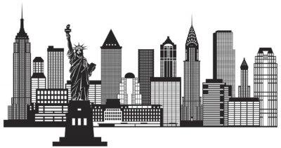 Nálepka New York City Skyline Black and White Ilustrace Vektor