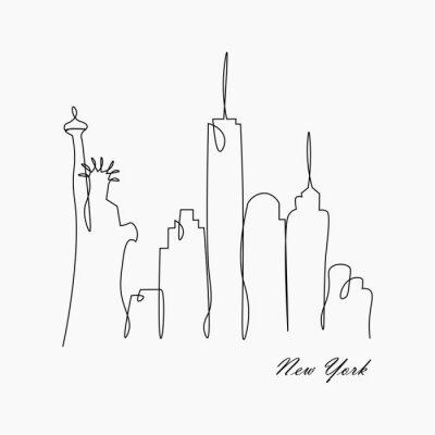 Nálepka New york city skyline with statue of liberty, usa, vector illustration.