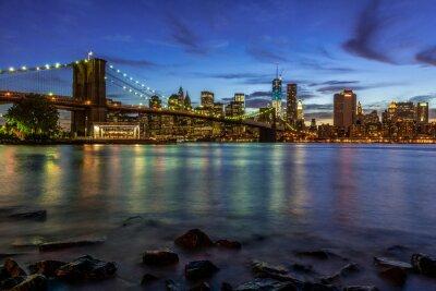 Nálepka New York City Slunce krajina s Brooklyn Bridge, USA