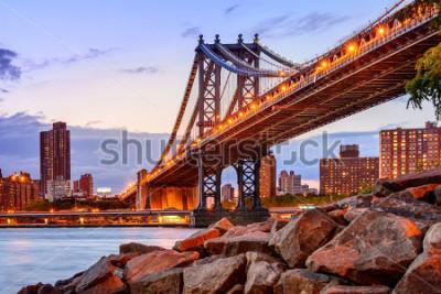 Nálepka New York City, USA at the Manhattan Bridge spanning the East River.