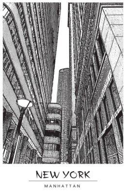 Nálepka New York, Manhattan. Úzká ulice v centru města, panoráma města se slavnými mrakodrapy. Vektorové ilustrace ve stylu rytiny. Černá výkres izolovaných na bílém pozadí. Perspektivní pohled.