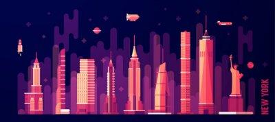 Nálepka New York městské panorama vektor bytu styl