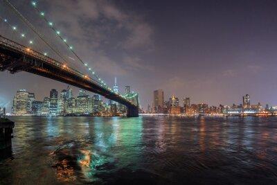 Nálepka New York noční pohled z Brooklynu