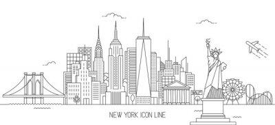 Nálepka New York panorama line umění stylu