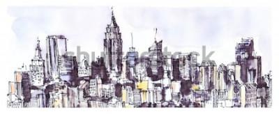 Nálepka New York panorama města. Akvarel, inkoustová grafika. Architektura