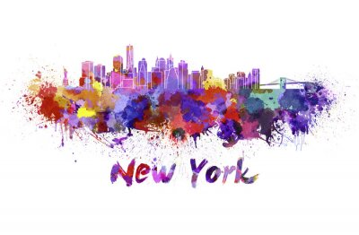 Nálepka New York panorama v akvarelu