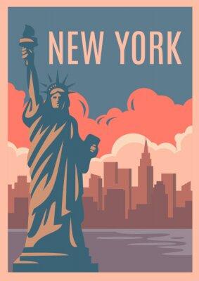 Nálepka New York Retro Plakát.