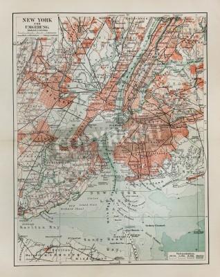 Nálepka New York staré mapy z konce 19. století