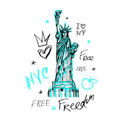 Nálepka New York, tričko design, plakát, tisk, socha svobody, mapa, grafika tričko, trendy, tah štětcem, značka, barevné pero, inkoust, akvarel. Ručně kreslenou vektorové ilustrace.