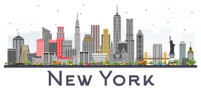 Nálepka New York USA Skyline s šedými mrakodrapy izolovaných na bílém pozadí.