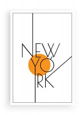 Nálepka New York, vector. Scandinavian art design. Minimalist poster design. Wall art work, wall decoration. Wording design, lettering
