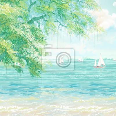 Nice trees in summer at lake