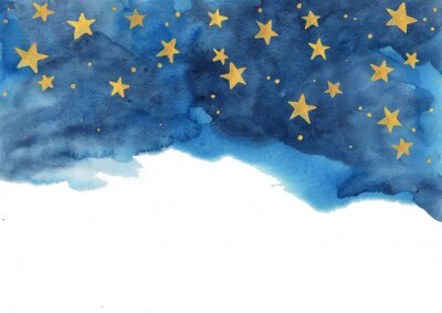 Nálepka Night sky and gold star watercolor hand painting  for decoration on winter season and Chritsmas holiday.