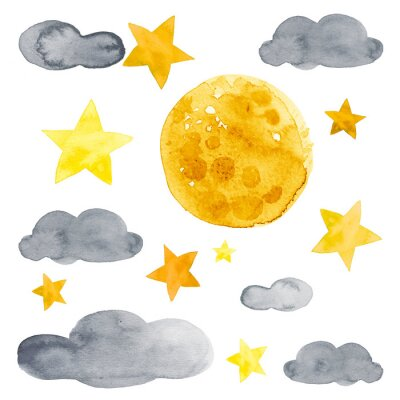 Nálepka Night sky with moon, stars and clouds watercolor illustration set