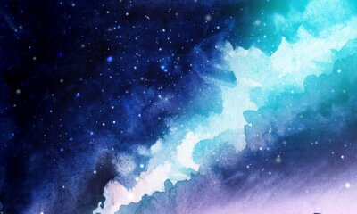 Nálepka Night. The infinite deep starry sky, the Milky Way. Northern Lights Pink and blue streams of light. Mystical boundless universe. Hand-drawn watercolor background illustration.