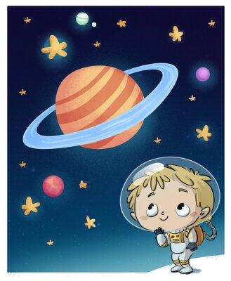 Nálepka Niño astronauta en el Espacio