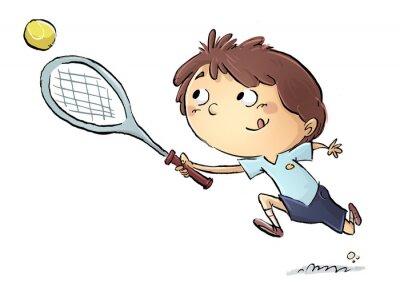 Nálepka Niño jugando tenis